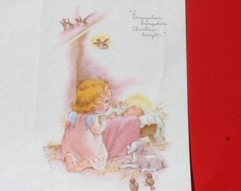 Vintage Angel Nativity Christmas Card by Eve Rockwell, Cherub Angel with Baby Jesus, Unused Christmas Card, Parchment Stock Christmas Card