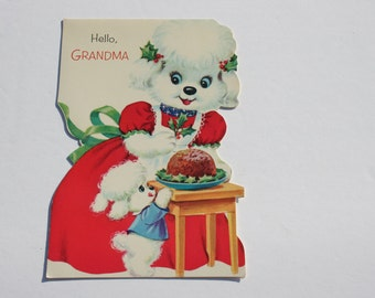 Vintage Cute White Poodle Christmas Card, USED Adorable 1970s 70s Card for Grandma, Scrapbooking Crafts Christmas Card
