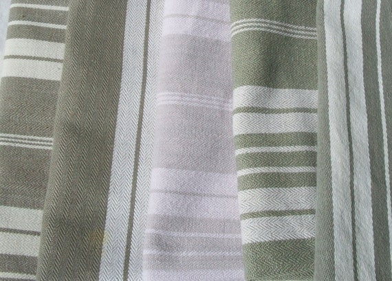 Lot of Vintage French Fabric Striped Ticking Pieces Linen Herringbone Weave Grey stone greens