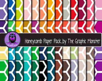 Honeycomb Pattern Scrapbook Paper, Digital Paper Honeycomb, Multicolor, Scrapbook Honeycomb