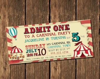 Carnival Birthday Party Invitation, Ticket Invitation, Kids Birthday Invitation