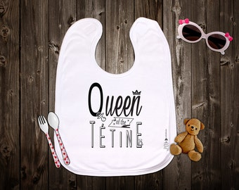 """Customizable original bib """"Queen of the pacifier"""". Birth gift. Baby gift. Text and graphics by Piou creations."""
