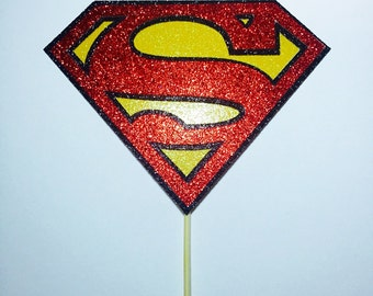 Glitter Superman cake topper (7 inches, unless otherwise specified).