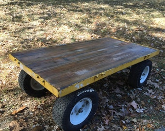 Reclaimed wood and cart coffee table