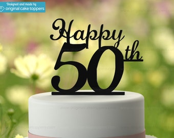 "50th Birthday Cake Topper - ""Happy 50th"" - BLACK - OriginalCakeToppers"