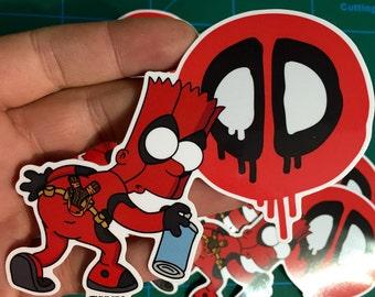 Bart x Deadpool Vinyl Die Cut Sticker