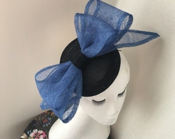 Sale Black pillbox button hat with royal blue 3d structural bow small hat fascinator ascot ladies day wedding races epsom detby day