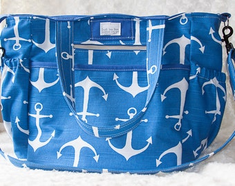 Extra Large Diaper Bag, Handmade Diaper Bag, Tote Bag, Nautical Diaper Bag, Nautical Bag, Work Bag