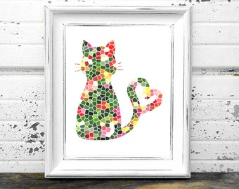 Cat Print,#Kitty,#Kitten,#StainedGlass,#Heart,bright,#multicolored cat,#CatLoversArt,#DIYDecor,#Interiordesign,#TiffanyStyle,#Geometric
