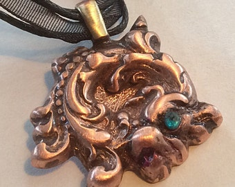C 35 Dragon, pure copper dragon, dragon good luck, charm, black multi strand cord necklace, handmade, signed by artist,