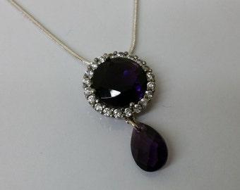 925 Silver Pendant Amethyst & crystals SK661