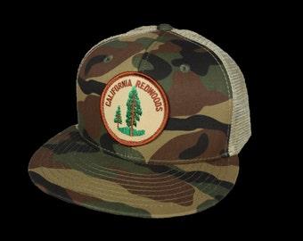 California Redwoods Hat - Camo and Khaki Trucker