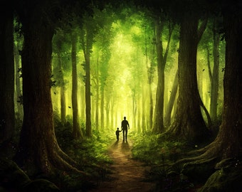Searching for God - Signed Art Print - Fantasy Forest Father and Son - Painting by Jonas Jödicke