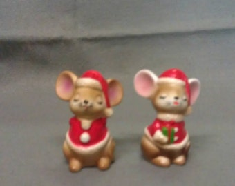 Beige and Tan Christmas Santa Claus Mice Rats Salt and Pepper Shaker Set