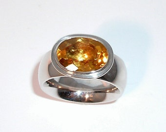 Citrinring, Sun dance, silver ring with citrine