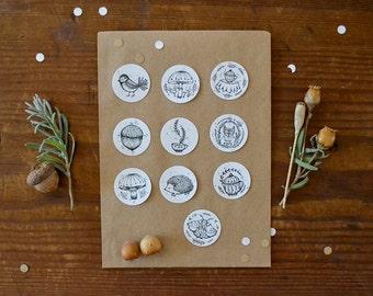 """Sticker Set - Autumn Sparkles  (2,5 cm / 1"""")  single-colour"""