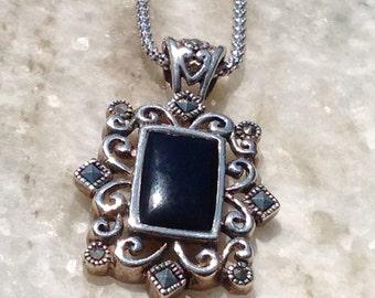 Marcasite Necklace,Vintage Marcasite Onyx Necklace,Marcasite Necklace,Onyx Necklace,Silver Marcasite Jewelry