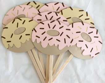 Donut Party Picks • Cupcake Toppers • Set of 8
