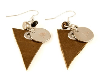 Leather Triangle Earring - Leather Earring - HN1100