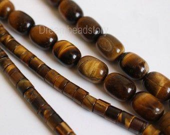 Natural Yellow Tiger Eye Semi Precious Stone Tube/ Barrel Spacer Beads Supplier (HX14)