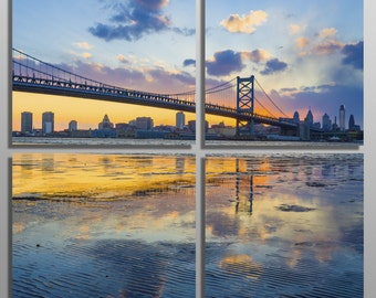 Metal Print - Philadelphia skyline, Ben Franklin Bridge - 4 Panel split, Quad - Metal wall art on HD aluminum panels for interior design.