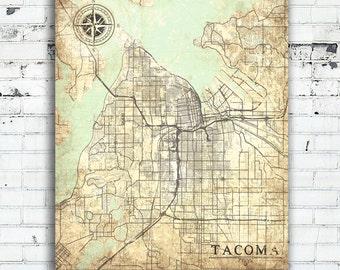 TACOMA WA Canvas Print Washington Vintage map Tacoma City Vintage map Wall Art poster Tacoma retro old antique oversized large vintage map