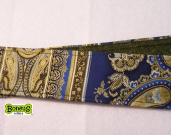 "Blue Paisley Metalic Greyhound Martingale Collar 2"" Wide Fabric Lined"