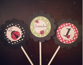Lady Bug Cup cake toppers