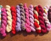 Mini Skeins set #6, Sock yarn Minis, 12 mini skeins, 5 Grams each- Ready to Ship