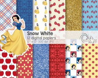 """Snow White digital paper pack, instant download, 12"""" x 12"""""""