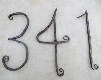 Hand forged custom iron house numbers housewarming gift
