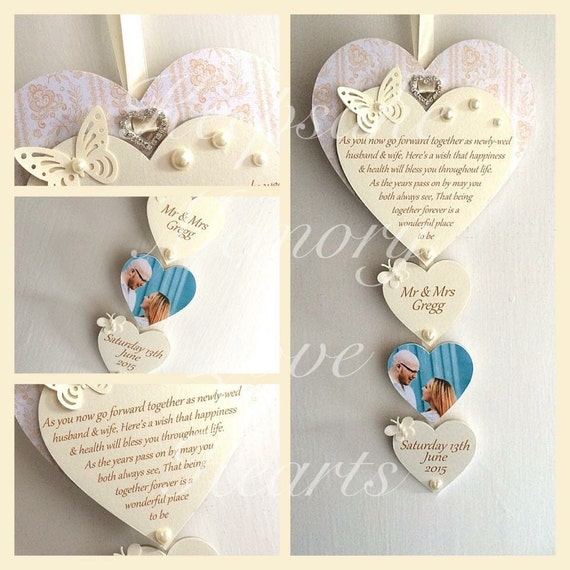 Wedding gift personalised wooden keepsake heart