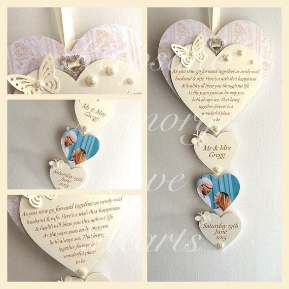 Personalised Wooden Heart Wedding Gift : Wedding gift personalised wooden keepsake heart