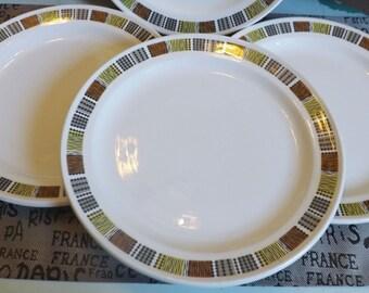 Vintage (c.1970s) Steelite | Royal Doulton Carnaby-like luncheon plate. Black, brown, & yellow squares | geometrics.
