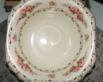 Quite vintage (c.1930s) Thomas Hughes Unicorn Pottery Coronation Rose 4857 vegetable bowl. Pink roses, gold swags, scalloped gold edge.