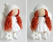 Winter Angel doll handmade Cute doll Tilda doll white red color Soft doll Cloth doll Textile doll Rag doll by Master Olga Ponomareva