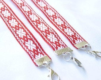 """Latvian folkloric Bracelet with """"Auseklis"""" - Latvian folkloric Star sign / made in latvia / red and white"""