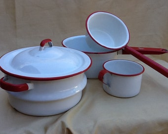 Vintage Red and White Enamelware Porcelain Cookware.....