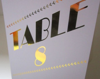 Wedding Table Number Cards - Gold print