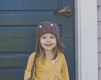Aviator Hat, Pilot Hat, Brown Aviator Hat, Newborn Gift, Baby Girl Hat, Baby Boy Hat, Baby Gift, Cute Baby Hat, Shower Gift, Baby Girl