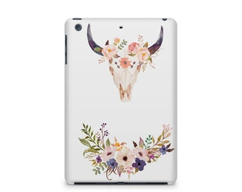 Bull skull flowers iPad case, desert, coachella, Apple iPad hard shell case, ipad Mini, ipad Air, iPad 2,3,4