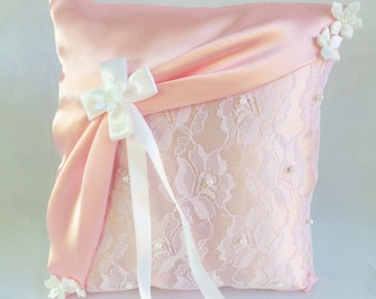 Pink Satin, Pink Lace, Flower Bow Ring Bearer Pillow