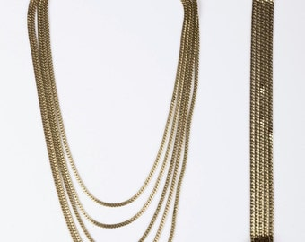 12 kt Gold Filled Chain Necklace and Bracelet Set
