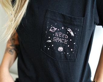 Space T-Shirt, Unisex Pocket T-Shirt, Unisex T-Shirt, Black T-Shirt, Gifts for Introverts
