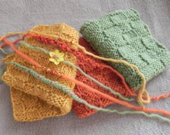 newborn knit mini blankets/layers(set of 3), basket stuffer, tiebacks