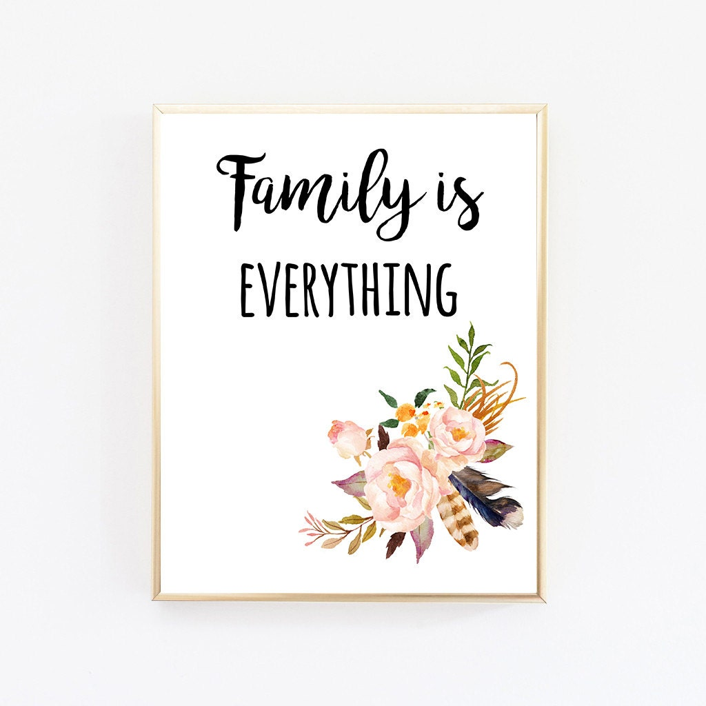 family print family sign family is everything family. Black Bedroom Furniture Sets. Home Design Ideas