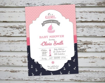 Pink Nautical Marine Baby Shower Invitation, Pink Marine Baby Shower, Pink Marine Invite Printable
