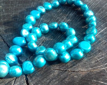 Blue Freshwater Nugget strand, 56 beads in this strand