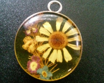 Real Wild Flower Charm Pendant , Sterling Silver
