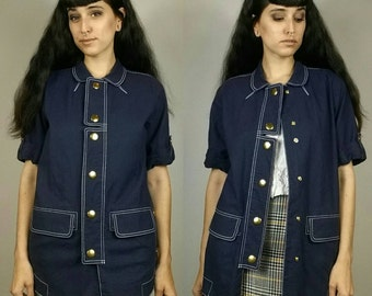 """Vintage 1990s Navy + Gold Button Up Short Sleeve Collar Coat size S/M  (bust: 40"""")"""
